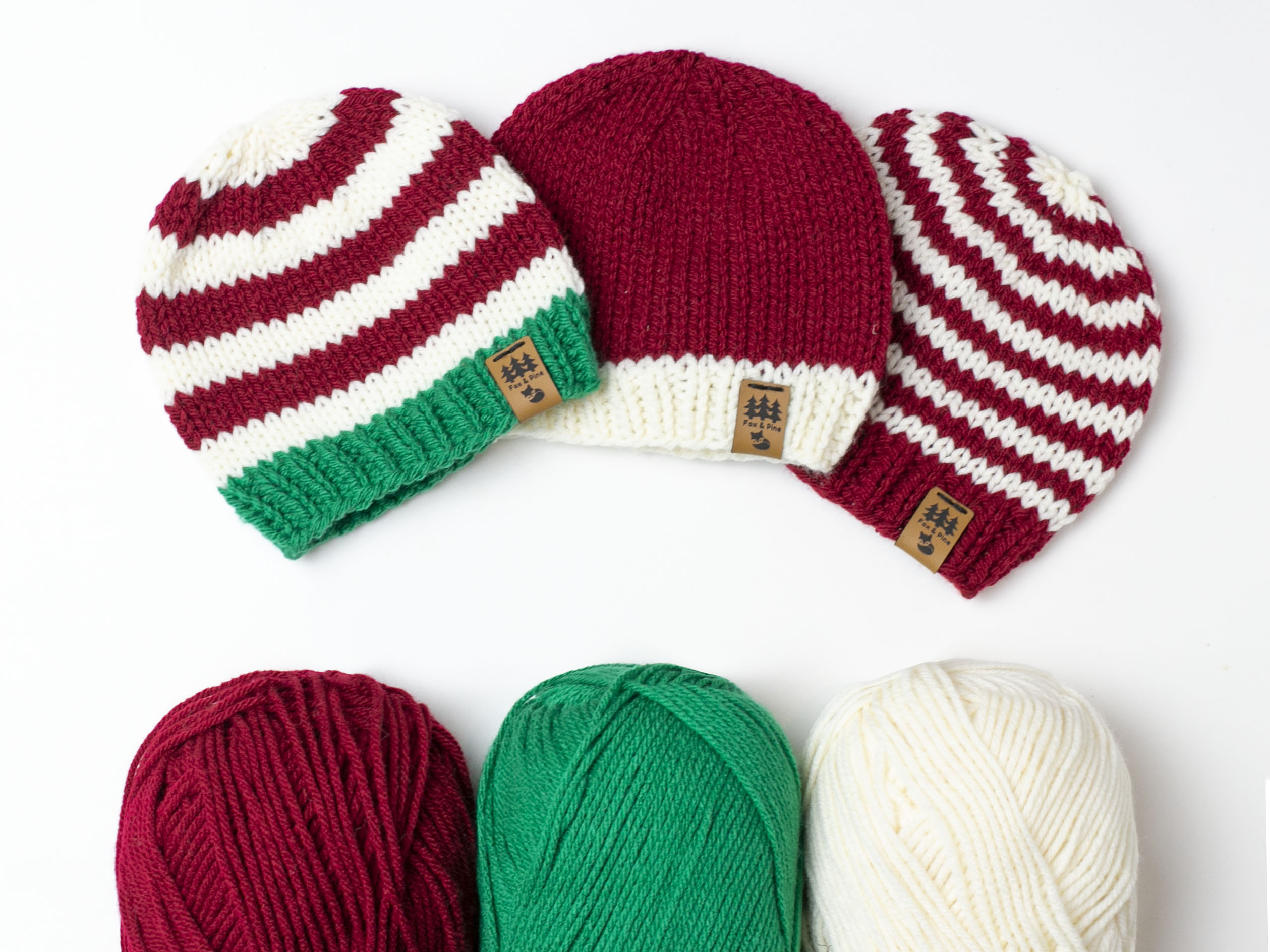 Christmas Santa Hats Bundle Free Knitting Pattern